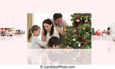 partage, familles, montage, quelques-uns, ensemble, moments, maison, apprécier, noël