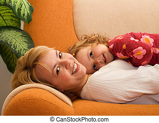 partage, fille, moment, mère, tendre, heureux