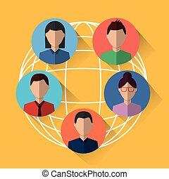 partage, gens, communication, connexion, internet, mondiale