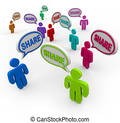 partage, gens, donner, part, comments, parole, bulles