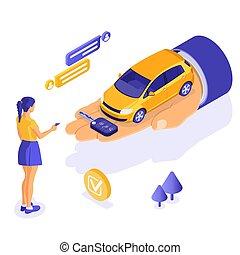 partage, isométrique, vente, voiture, achat, loyer