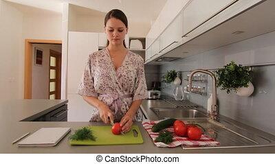 partage, légume, femme, jeune