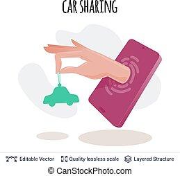 partage, mobile, voiture, app, vecteur, concept., icône