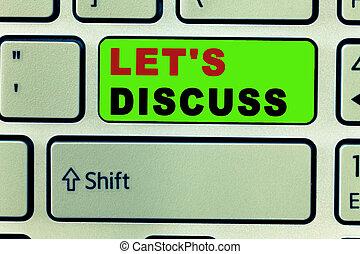 partage, photo, discuss., texte, sur, haut, signe, topic, conceptuel, s, laisser, bavarder, permis, aller, ouvert, projection, parler