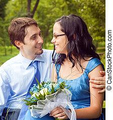 partage, romantique, intime, couple, moment, heureux