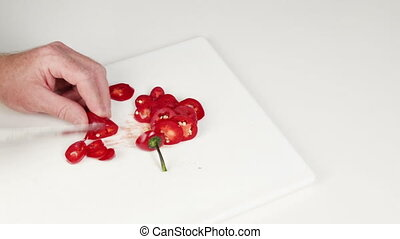 partage, rouges, couteau, jalapeno, mains