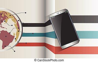 partage, smartphone, moderne, fichier