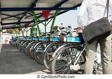 partage, vélo, électrique, système