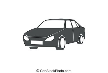 partage, voiture, symbole., automobile, vecteur, transport commun