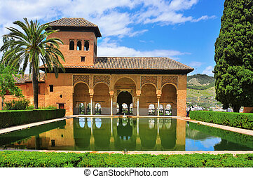 La Alhambra in Granada, Spain - Partal Palace in La Alhambra...