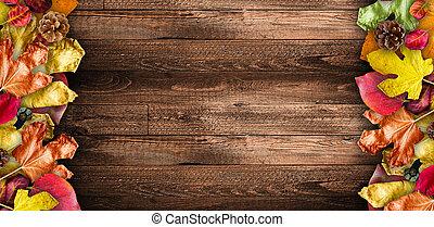 partculars., bordläggar, över, naturlig, trä, bladen, spela ...
