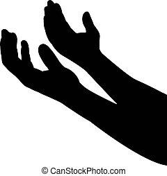 parte órgão, vetorial, silueta, mãos