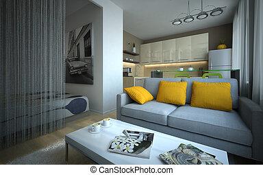 parte, apartamento, modernos