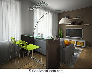 parte, appartamento, moderno