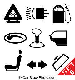 parte coche, conjunto, icono, 6