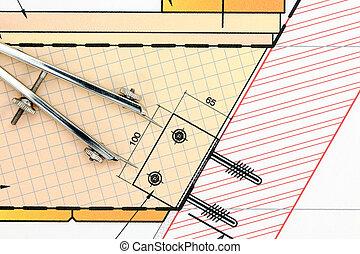 parte de, arquitectónico, proyecto, con, compás de dibujo, y, lápiz