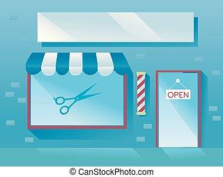 parte dianteira loja, barbeiro, ilustração