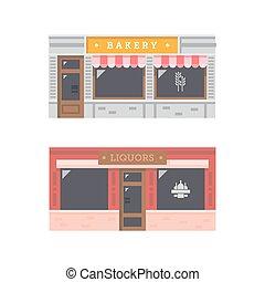 parte dianteira loja, fachada, apartamento, desenho