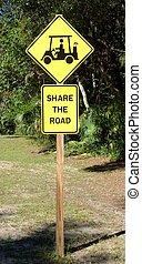 parte, golfe, estrada, carreta, sinal