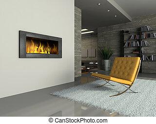parte, il, moderno, appartamento, con, caminetto