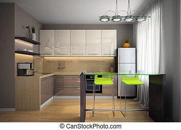 parte, modernos, cozinha