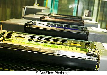 parte, offset, imprimindo, máquina