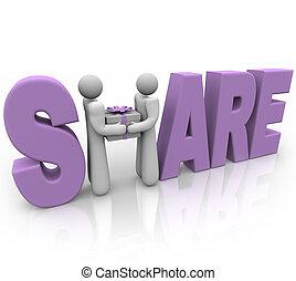 parte, -, pessoas, compartilhar, presente, em, dar, feriado