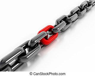 parte, rojo, cadena
