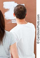 parte traseira, parede, vista, pintura homem