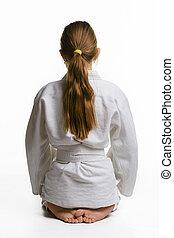 parte traseira, sentando, chão, judo, vista, menina, classe
