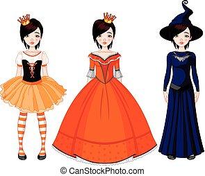 partei mädchen, halloween, kleidet