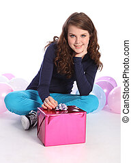 partei mädchen, luftballone, teenager, geschenk