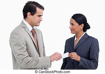 partenaires, échanger, cartes, business