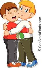 partenaires, étreinte, donner, usure, homme affaires, formel