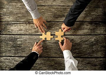 partenaires, être, business, réussi, puzzle, hommes, deux ...