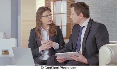 partenaires, affaires femme, accord, mains, secousse, venir, homme