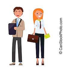 partenaires, affaires femme, usure, élégant, homme, formel