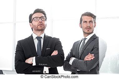 partenaires, business, espace, deux, regarder, copie