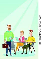 partenaires, business, fonctionnement, bureau.