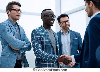 partenaires, business, poignée main, réunion bureau