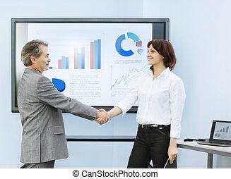 Partenaires,  Business, réussi, après, mains, secousse,  présentation