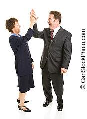 partenaires, cinq, élevé, business
