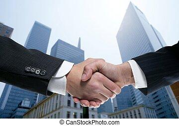 partenaires, complet, secousse, homme affaires, mains