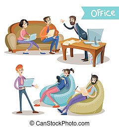 partenaires, diriger ensemble, bureau, subordinates, vecteur, illustrations, ouvriers