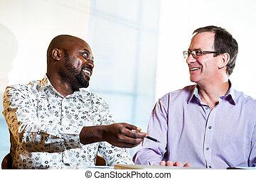partenaires, divers, discussion affaires, work.