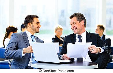 partenaires, documents, business, discuter, image, idées, réunion