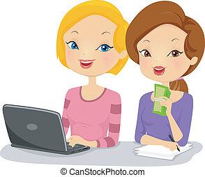 partenaires, femme, business