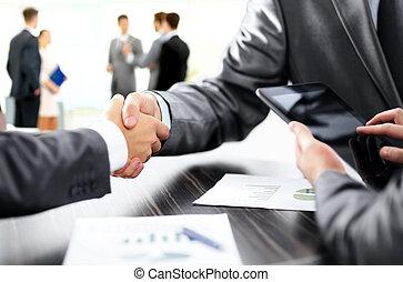partenaires, financier, business, poignée main, discussion, ...