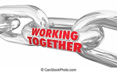 partenaires, fonctionnement, liens, chaîne, limite, ensemble, illustration, coopération, 3d