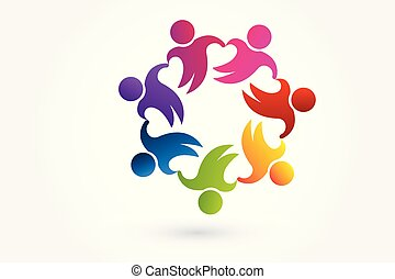 partenaires, gens, unité, collaboration, logo, enfants